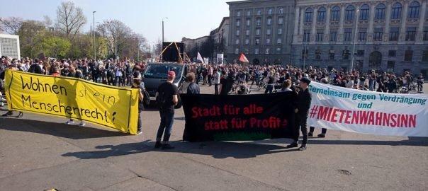 Mietenwahnsinn-Demo in Leipzig 2019 (Stadtbiblitothek)