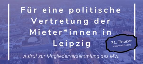 Text: Für eine politische Vertretung der Mieter*innen in Leipzig